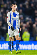 Viktor Gyokeres (Brighton) walking towards the supporters in the North Stand at the end of the FA Cup fourth round match between Brighton and Hove Albion and West Bromwich Albion at the American Express Community Stadium, Brighton and Hove, England on 26 January 2019.