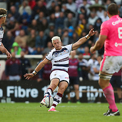 Christian Schoeman of Bordeaux kicks a drop goal during the Top 14 match between Bordeaux Begles and Stade Francais on September 9, 2017 in Bordeaux, France. (Photo by Manuel Blondeau/Icon Sport)