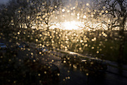 An aerial view of a south London street being flooded by sunlight after heavy rainfall with out-of-focus spots of water on the glass of a residential house's window, on 25th February 2020, in London, England.