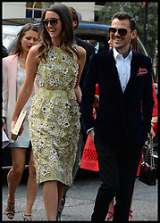 Designer Matthew Williamson (right) arriving at the wedding of Poppy Delevingne to James Cook at St.Paul's Church in Knightsbridge, London,  Friday, 16th May 2014. Picture by Andrew Parsons / i-Images