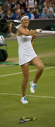28.06.2011, Wimbledon, London, GBR, WTA Tour, Wimbledon Tennis Championships, im Bild  Victoria Azarenka (BLR) celebrates after winning the Ladies' Singles Quarter-Final match on day eight of the Wimbledon Lawn Tennis Championships at the All England Lawn Tennis and Croquet Club. . EXPA Pictures © 2011, PhotoCredit: EXPA/ Propaganda/ David Rawcliffe +++++ ATTENTION - OUT OF ENGLAND/UK +++++ // SPORTIDA PHOTO AGENCY