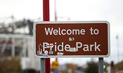A sign welcomes fans to Pride Park
