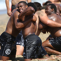 DURBAN, SOUTH AFRICA, December 10. 2015 - Sibusiso Sithole during The Cell C Sharks Pre Season Beach South Beach training for the 2016 Super Rugby Season . (Photo by Steve Haag)<br /> images for social media must have consent from Steve Haag