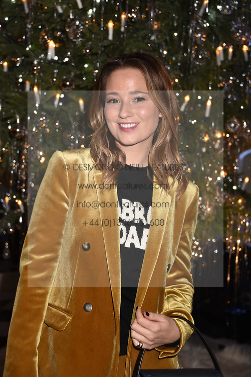 Kelly Eastwood at reception to celebrate the launch of the Claridge's Christmas Tree 2017 at Claridge's Hotel, Brook Street, London England. 28 November 2017.<br /> Photo by Dominic O'Neill/SilverHub 0203 174 1069 sales@silverhubmedia.com