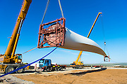 Installing one of the rotor blades for the wind turbine