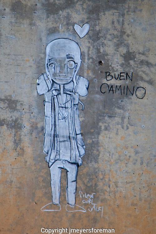 camino graffiti, girl, buen camino