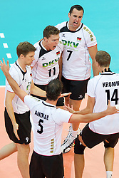 11.09.2011, O2 Arena, Prag, CZE, Europameisterschaft Volleyball Maenner, Vorrunde D, Deutschland (GER) vs Slowakei (SVK), im Bild Jubel Deutschland: Bjoern/Björn Andrae (#5 GER / Kemerovo RUS), Stefan Hübner/Huebner (#9 GER / Dueren GER), Lukas Kampa (#11 GER / Bottrop GER), Georg Grozer (#7 GER / Rzeszow POL), Robert Kromm (#14 GER / Verona ITA) // during the 2011 CEV European Championship, Germany vs Slovakia at O2 Arena, Prague, 2011-09-11. EXPA Pictures © 2011, PhotoCredit: EXPA/ nph/  Kurth       ****** out of GER / CRO  / BEL ******