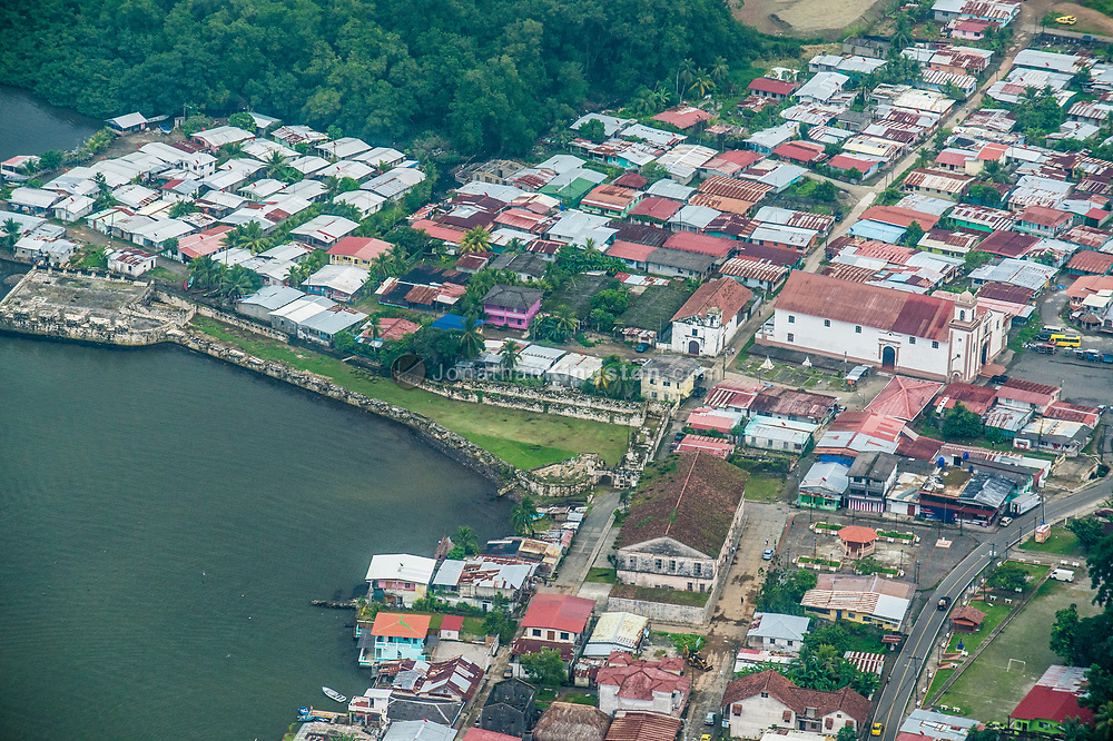 Aerial view of Fort San Jeronimo and Portobelo, Panama.