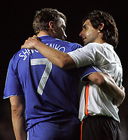 Photo: Paul Thomas.<br /> Chelsea v Valencia. UEFA Champions League. Quarter Final, 1st Leg. 04/04/2007.<br /> <br /> Chelsea's Andriy Shevchenko (L) and Roberto Ayala share a moment after the game.