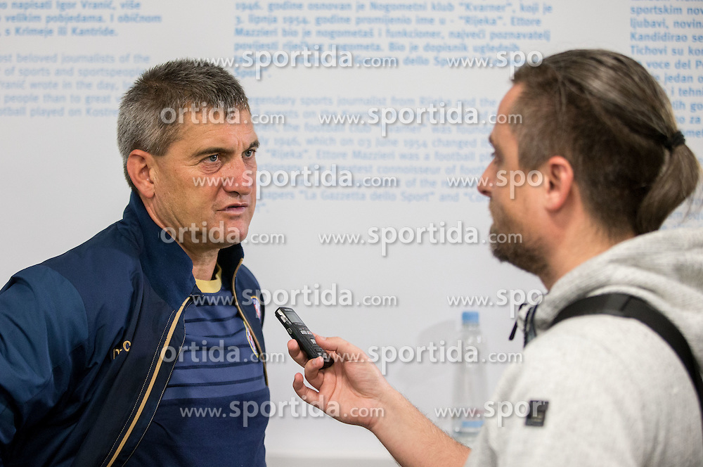 Marijan Pusnik, head coach of HNK Hajduk and journalist Rok Plestenjak after the press conference after football match between HNK Rijeka and HNK Hajduk Split in Round #15 of 1st HNL League 2016/17, on November 5, 2016 in Rujevica stadium, Rijeka, Croatia. Photo by Vid Ponikvar / Sportida