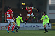 Swindon Nathan  Thompson (2) flying defensive header first half 0-0 during the EFL Sky Bet League 1 match between Swindon Town and Peterborough United at the County Ground, Swindon, England on 21 January 2017. Photo by Gary Learmonth.