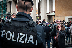 May 13, 2019 - Rome, italy, Italy - The anti-fascist demonstration awaiting the intervention of Mimmo Lucano, suspended mayor of Riace, in Aldo Moro square in Rome, Italy, 13 May 2019. With a big banner in his head ''Fascism is not an opinion'' the anti-fascist student procession started from the university city directed to piazzale Aldo Moro to protest against the rally of Forza Nuova, banned by the police, scheduled at 14.30 against the intervention of the former mayor of Riace pro migrants Mimmo Lucano invited in the afternoon to a seminar at the university. on May 13, 2019., 2019 in Rome, (Credit Image: © Andrea Ronchini/NurPhoto via ZUMA Press)