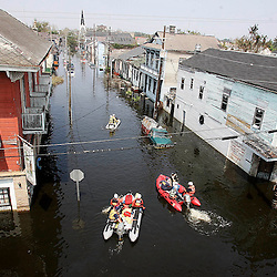 Los Angeles County and Los Angeles City Swift Water Urban Search and Rescue Teams head up Orleans St. in search of victims during the aftermath of Hurricane Katrina Saturday, September 3, 2005 in New Orleans, Louisiana.  <br /> (Pasadena Star-News Keith Birmingham)