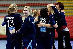 Team of Slovenia celebrate at Women European Championships Qualifying handball match between National Teams of Slovenia and Belarus, on October 17, 2009, in Kodeljevo, Ljubljana.  (Photo by Vid Ponikvar / Sportida)