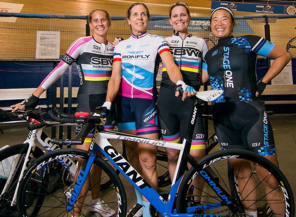 Carson, California --  Elise Taylor, Jan Palchikoff, Sarah Munoz and fellow rider share a moment as they prepare for practice at the Stubhub Velodromne Center