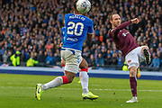 Aidy White of Hearts clears the ball during the Betfred Scottish League Cup semi-final match between Rangers and Heart of Midlothian at Hampden Park, Glasgow, United Kingdom on 3 November 2019.