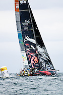 Puma and Sanya leaving the mark in light air during the in-port race during the Miami stopover of the 2011-2012 Volvo Ocean Race.