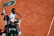 Paris, France - 2017 June 01: Chair Umpire Kader Nouni from France looks forward during tennis Grand Slam tournament The French Open 2017 (also called Roland Garros) at Stade Roland Garros on June 01, 2017 in Paris, France.<br /> <br /> Mandatory credit:<br /> Photo by &copy; Adam Nurkiewicz<br /> <br /> Adam Nurkiewicz declares that he has no rights to the image of people at the photographs of his authorship.<br /> <br /> Picture also available in RAW (NEF) or TIFF format on special request.<br /> <br /> Any editorial, commercial or promotional use requires written permission from the author of image.