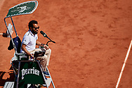 Paris, France - 2017 June 01: Chair Umpire Kader Nouni from France looks forward during tennis Grand Slam tournament The French Open 2017 (also called Roland Garros) at Stade Roland Garros on June 01, 2017 in Paris, France.<br /> <br /> Mandatory credit:<br /> Photo by © Adam Nurkiewicz<br /> <br /> Adam Nurkiewicz declares that he has no rights to the image of people at the photographs of his authorship.<br /> <br /> Picture also available in RAW (NEF) or TIFF format on special request.<br /> <br /> Any editorial, commercial or promotional use requires written permission from the author of image.