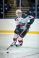 KELOWNA, CANADA - SEPTEMBER 2: Defenseman Kaedan Korczak #6 of the Kelowna Rockets skates with the puck against the Victoria Royals on September 2, 2017 at Prospera Place in Kelowna, British Columbia, Canada.  (Photo by Marissa Baecker/Shoot the Breeze)  *** Local Caption ***
