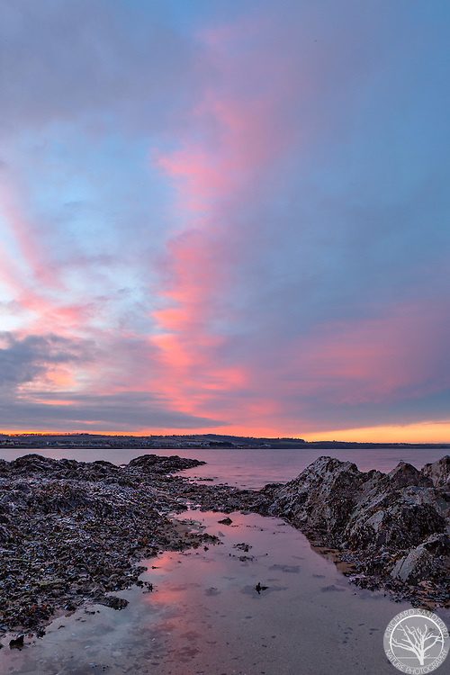 A beautiful sunset in the sky above Skerries, County Fingal, on the east coast of Ireland