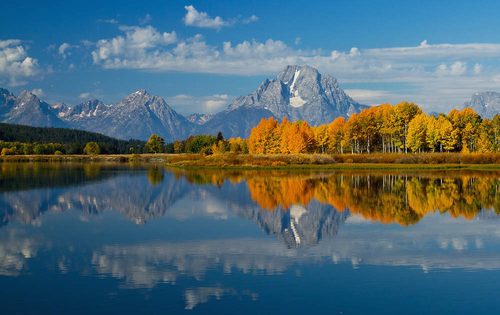 The Oxbow Bend of the Snake River is a photographer's dream. During autumn, the aspens along the banks of the Snake turn from green to bright yellow and orange, highlighting the grandeur of Mount Moran in the distance.