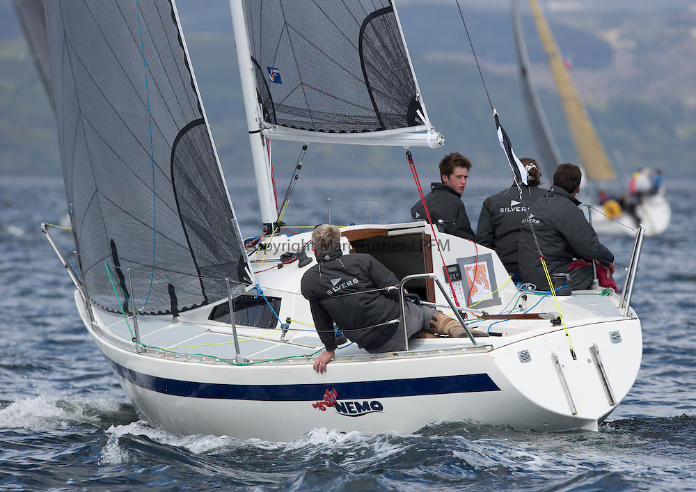 The final days racing at the Silvers Marine Scottish Series 2015, the largest sailing event in Scotland organised by the  Clyde Cruising Club<br /> Racing on Loch Fyne from 22rd-24th May 2015<br /> <br /> 1706C, Nemo, Andrew &amp; Dean Malcolm, ccc, Eygthene 24<br /> <br /> Credit : Marc Turner / CCC<br /> For further information contact<br /> Iain Hurrel<br /> Mobile : 07766 116451<br /> Email : info@marine.blast.com<br /> <br /> For a full list of Silvers Marine Scottish Series sponsors visit http://www.clyde.org/scottish-series/sponsors/