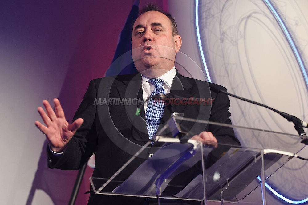 LONDON, ENGLAND, FEBRUARY 2, 2012: Scottish First Minister Alex Salmond speaks to guests at a dinner event hosted by French multinational conglomerate Alstom inside Foreman's Fish Island restaurant in London, England on February 2, 2012.