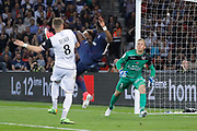 Serge Aurier (psg) missed it goal, Lucas DEAUX (En Avant Guingamp), Karl-Johan JOHNSSON (En Avant Guingamp) during the French Championship Ligue 1 football match between Paris Saint-Germain and EA Guingamp on April 9, 2017 at Parc des Princes stadium in Paris, France - Photo Stephane Allaman / ProSportsImages / DPPI