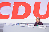 22 NOV 2019, LEIPZIG/GERMANY:<br /> Angela Merkel, CDU, Bundeskanzlerin, CDU Bundesparteitag, CCL Leipzig<br /> IMAGE: 20191122-01-181<br /> KEYWORDS: Parteitag, party congress, allein, Logo