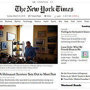 "Screengrab of ""Breaking Silence, Survivor Sets Out to Meet Holocaust Past"" published in The New York Times"