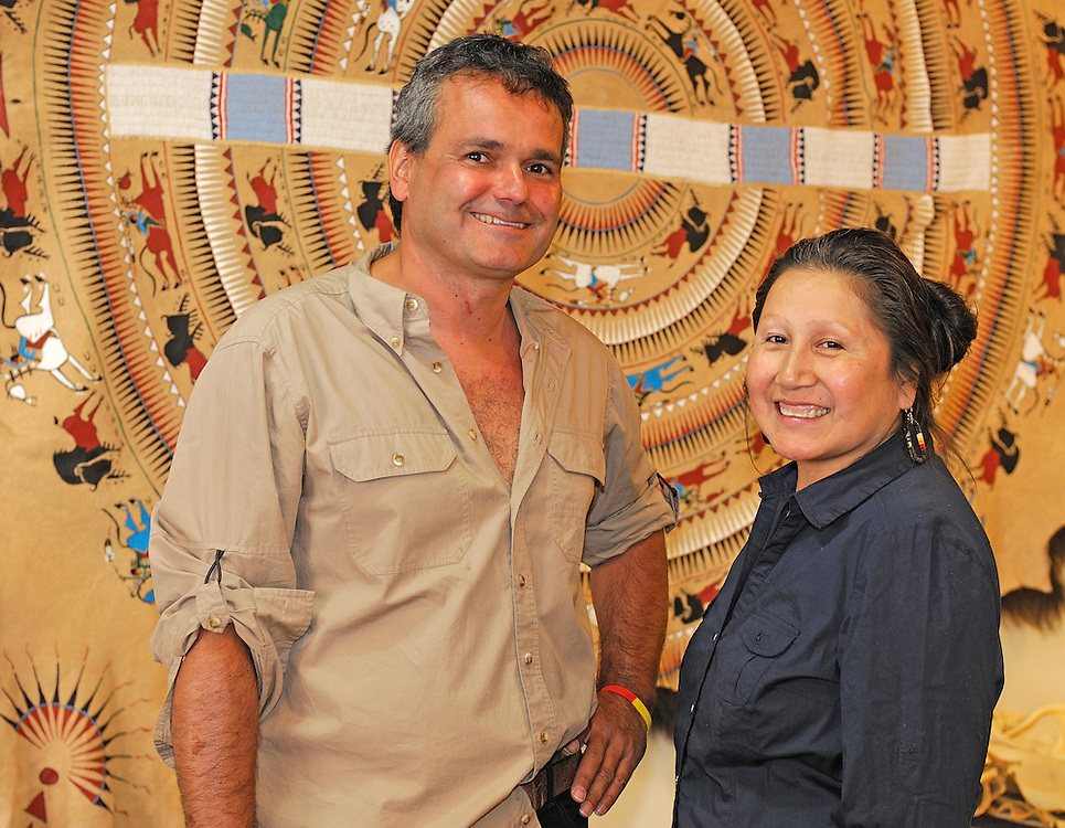 Charly Juchler and Sonja Holy Eagle in her Gallery Dakota Drums, Lakota, Native American People, Rapid City, Black Hills, South Dakota, USA