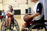 Riley Ljungdahl, 12, of Longmont, mocks a teammate as he gets his photo taken during the last basketball practice of the season, Tuesday, April 30, 2013, at the Gold Crown Field House in Lakewood.<br /> (Matthew Jonas/Times-Call)
