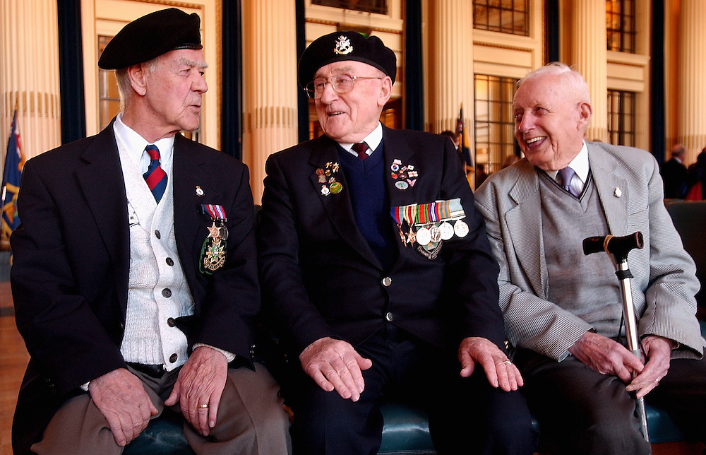 NEWS..The Launch of veterans Day at Nottingham Council house...Veterans from the Sherwood Foresters, Frank Leonardi, Michael Murry, Albert Fullager(corr) talking together...POST PHOTO SHAWN RYAN..C260207SR6-1..