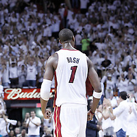 21 June 2012: Miami Heat power forward Chris Bosh (1) reacts during the Miami Heat 121-106 victory over the Oklahoma City Thunder, in Game 5 of the 2012 NBA Finals, at the AmericanAirlinesArena, Miami, Florida, USA. The Miami Heat wins the series 4-1.