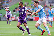 MELBOURNE, VIC - MARCH 03: Perth Glory midfielder Diego Castro (17) keeps eyes focused on the ball at the round 21 Hyundai A-League soccer match between Melbourne City FC and Perth Glory on March 03, 2019 at AAMI Park, VIC. (Photo by Speed Media/Icon Sportswire)