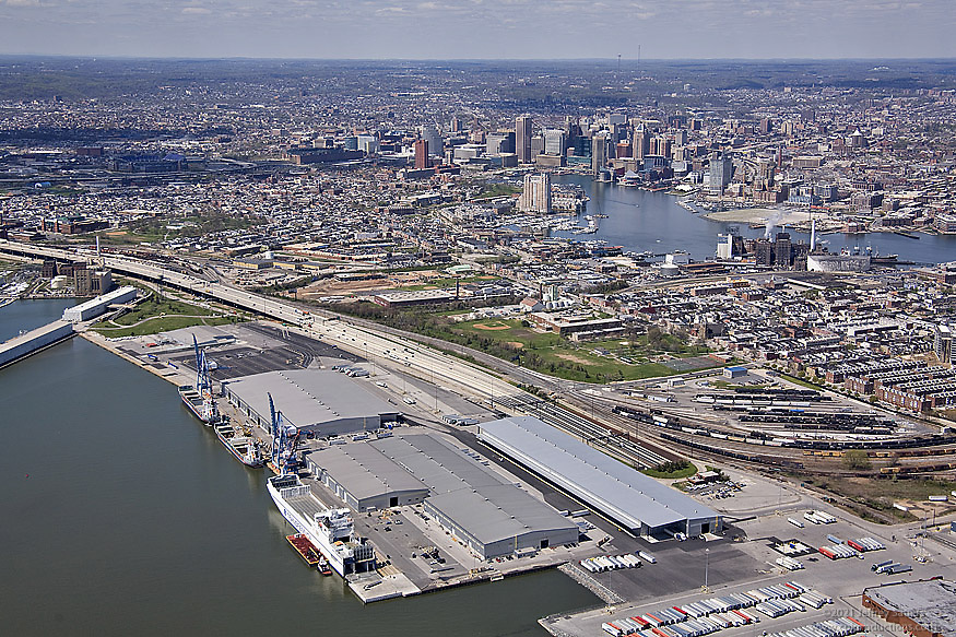 South Lucust Point Terminal and Baltimore City Skyline Aerial Photo
