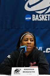 March 18, 2011; Stanford, CA, USA; St. John's Red Storm guard Nadirah McKenith (5) speaks at a press conference the day before the first round of the 2011 NCAA women's basketball tournament at Maples Pavilion.