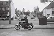 Teenager on a Yamaha motorbike, Greenford, London, UK, 1980s.