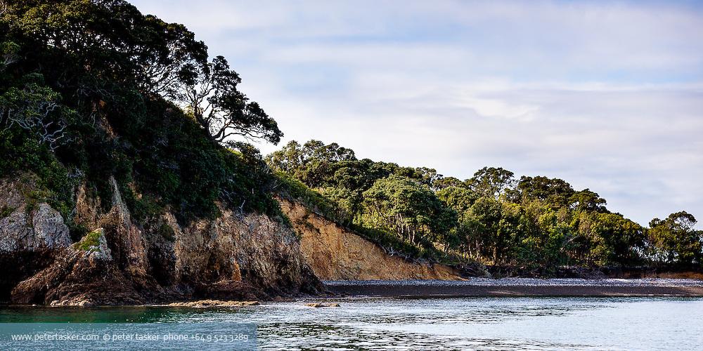 Otata Island coastline. Hauraki Gulf, Auckland, New Zealand.