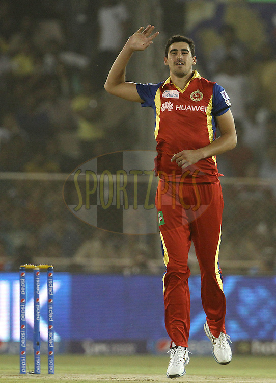 Royal Challengers Bangalore player Mitchell Starc reacts during match 22 of the Pepsi IPL 2015 (Indian Premier League) between The Rajasthan Royals and The Royal Challengers Bangalore held at the Sardar Patel Stadium in Ahmedabad , India on the 24th April 2015.<br /> <br /> Photo by:  Vipin Pawar / SPORTZPICS / IPL