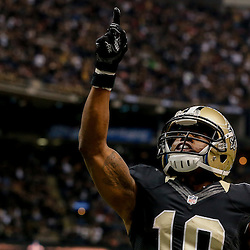 Nov 9, 2014; New Orleans, LA, USA; New Orleans Saints wide receiver Brandin Cooks (10) celebrates after a touchdown against the San Francisco 49ers during the second quarter of a game at Mercedes-Benz Superdome. Mandatory Credit: Derick E. Hingle-USA TODAY Sports