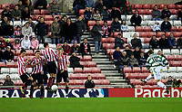 Photo: Andrew Unwin.<br />Sunderland v Northwich Victoria. The FA Cup. 08/01/2006.<br />Northwich's Paul Brayson takes a free-kick which beats the wall but is saved by the Sunderland goalkeeper.