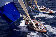 J Class Ranger and Velsheda sailing the Old Road Race at the Antigua Classic Yacht Regatta.
