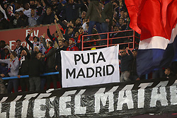 February 17, 2018 - Paris, France - PSG's supporters show a banner against Real Madrid during the Ligue 1 match between Paris saint-Germain and Strasbourg at Parc des Princes on February 17, 2018 in Paris, France. (Credit Image: © Mehdi Taamallah/NurPhoto via ZUMA Press)