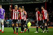 Brentford Forward Sergi Canós (47) celebrates the second goal for Brentford (score 2-0) during the EFL Sky Bet Championship match between Brentford and Bolton Wanderers at Griffin Park, London, England on 13 January 2018. Photo by Andy Walter.