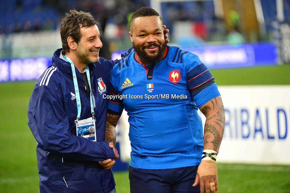 Joie Mathieu BASTAREAUD - 15.03.2015 - Rugby - Italie / France - Tournoi des VI Nations -Rome<br /> Photo : David Winter / Icon Sport