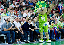 Family Kopitar: Gasper, mother, father Matjaz, Anze Kopitar and mascot Lipko during friendly basketball match between National Teams of Slovenia and Brasil at Day 2 of Telemach Tournament on August 22, 2014 in Arena Stozice, Ljubljana, Slovenia. Photo by Vid Ponikvar / Sportida