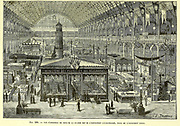 Daytime overview of the electricity exhibition, Paris, France, From the Book Les merveilles de la science, ou Description populaire des inventions modernes [The Wonders of Science, or Popular Description of Modern Inventions] by Figuier, Louis, 1819-1894 Published in Paris 1867
