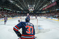 KELOWNA, CANADA - JANUARY 27: Joe Gatenby #37 of the Kamloops Blazers stands behind the net looking for the pass against the Kelowna Rockets on January 27, 2017 at Prospera Place in Kelowna, British Columbia, Canada.  (Photo by Marissa Baecker/Shoot the Breeze)  *** Local Caption ***